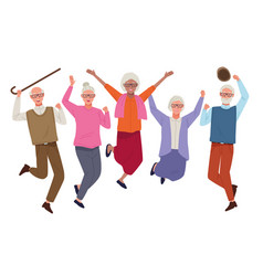 International older persons day with old people vector