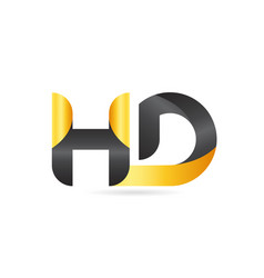 joined or connected hd h d yellow black alphabet vector image