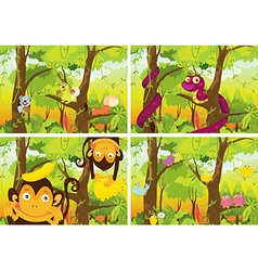 Jungle and animals vector image