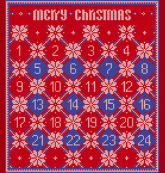 Knitted advent calendar vector