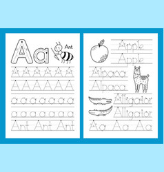 Letter a educational worksheets set trace vector