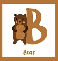 Letter b vocabulary standing bear vector