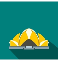Lotus Temple New Delhi icon flat style vector image