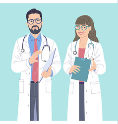 man and woman medical workers characters vector image