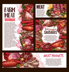 meat and sausage product banner template set vector image