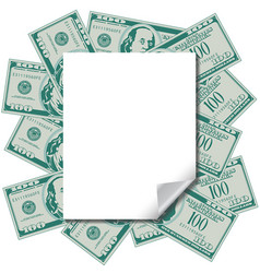 money frames this blank page with space for text vector image