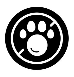No pets simple icon black and white vector