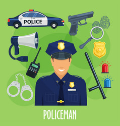 Poster policeman occupation items vector