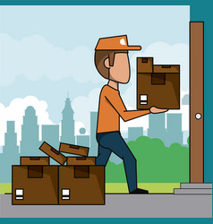 Poster scene city landscape of fast delivery man vector
