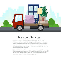 Red freight lorry is transporting furniture vector