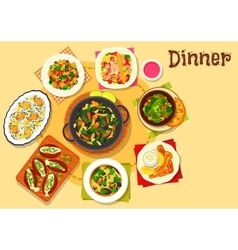 Seafood dishes with salads icon for menu design vector