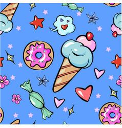 Seamless pattern childish fun trendy sweets heart vector
