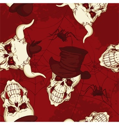 Seamless pattern paper with skulls vector