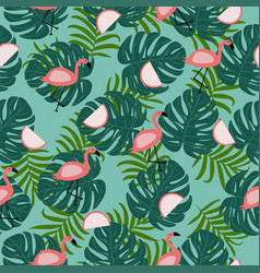 Seamless pattern with pink flamingo leaves with vector