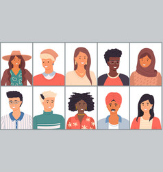 Set avatars in flat design positive young vector
