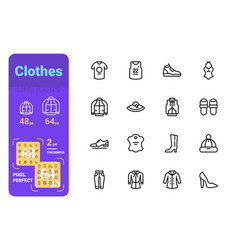 set clothes simple lines icons casual and sport vector image