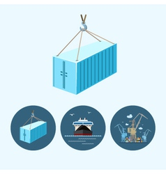 Set icons with container dry cargo ship crane vector image