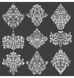 Set of ornamental elements for design White floral vector image