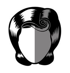 Silhouette shading of faceless woman with pin up vector