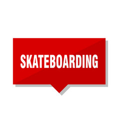 Skateboarding red tag vector