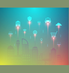 smart city and internet things with floating vector image