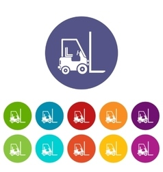 Stacker loader set icons vector