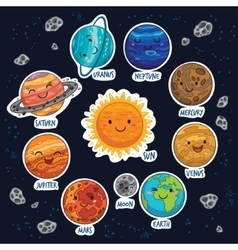 Sticker set of solar system with cartoon planets vector