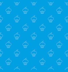 sweet cupcake pattern seamless blue vector image