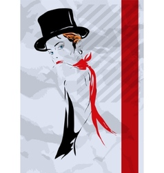 The girl in style of cabaret vector