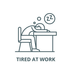 Tired at work line icon linear concept vector