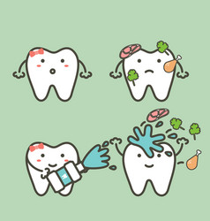 Tooth cleaning food stuck in teeth by mouthwash vector