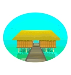 Tropical house on the water vector
