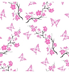 Twig cherry blossoms and butterfly Seamless vector image