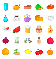 Useful food icons set cartoon style vector