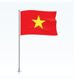 vietnam flag waving on a metallic pole vector image
