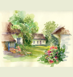 Watercolor summer rural landscape with trees at vector