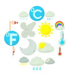 weather symbols icons set cartoon style vector image