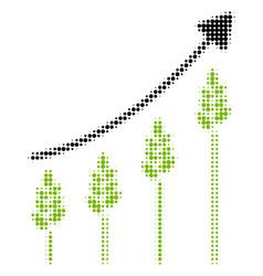 Wheat growing chart halftone icon vector