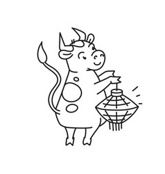 white metal bull with lantern - chinese new year vector image
