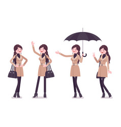 Woman in autumn wear with umbrella positive vector