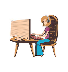 woman sitting with desktop computer and headset vector image
