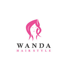 woman with beauty hair logo design inspiration vector image