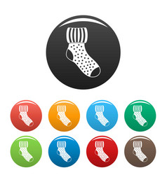 Woolen sock icons set color vector
