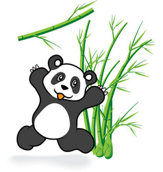 cute Panda Bear in Bamboo Forrest 05 vector image