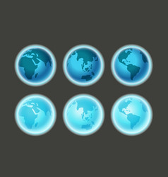 different earth sides on dark infographic template vector image