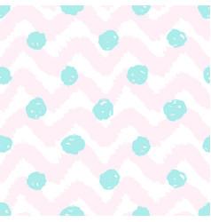 grunge chevron and polka dots seamless pattern vector image vector image