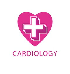 Heart and cross logo cardiology icon vector image