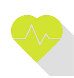 heartbeat sign pear icon with flat vector image vector image
