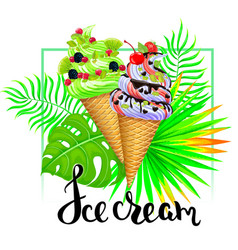 ice cream composition with tropical leaves vector image vector image