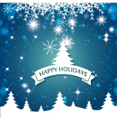 lovely card happy holidays landscape tree vector image